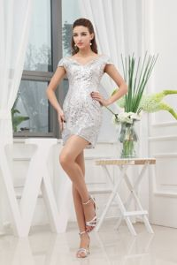 Sequined Decorated Mini-length V-neck Cap Sleeves Pageant Dress in Fayette