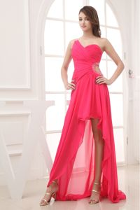 Hot Pink High-low One Shoulder Natural Beauty Pageants Dress in Fairhope