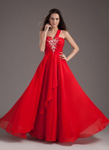 Empire Style One Shoulder Beaded Pageant Girl Dresses in Red in Evergreen