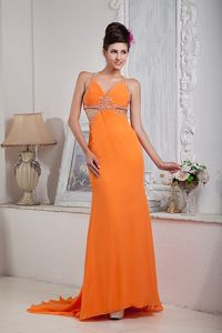 Orange Red Halter Top Glitz Pageant Dresses with Brush Train in Connecticut
