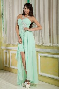 Apple Green Sweetheart High-low Beaded Beauty Pageant Dresses in Colorado