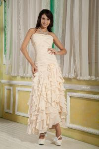 Champagne Strapless Handmade Flower and Ruffled Pageant Dress in California