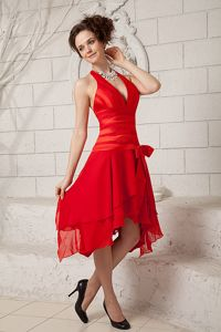 Empire Halter Top Ruched Red Tea-length Prom Pageant Dresses in Alaska