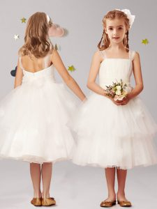Tulle Straps Sleeveless Zipper Appliques and Ruffled Layers and Bowknot Little Girls Pageant Dress in White
