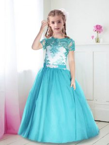 Hot Selling Scoop Short Sleeves Zipper Floor Length Lace and Belt Pageant Dress Womens
