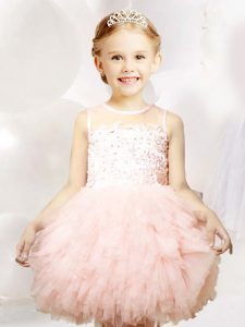 Scoop Tulle Sleeveless Mini Length Little Girls Pageant Dress and Appliques and Ruffles