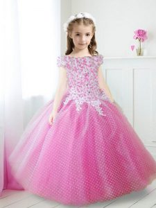 Off the Shoulder Hot Pink Cap Sleeves Beading and Appliques Floor Length Glitz Pageant Dress