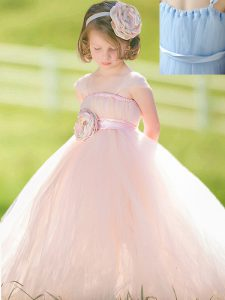 Straps Sleeveless Zipper Little Girl Pageant Gowns Baby Pink Tulle