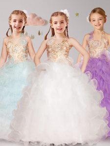 Enchanting Halter Top White and Apple Green and Lilac Sleeveless Organza Lace Up Kids Formal Wear for Party and Quinceanera and Wedding Party