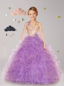 Custom Made Organza Halter Top Sleeveless Lace Up Beading and Ruffles and Hand Made Flower Evening Gowns in Lilac