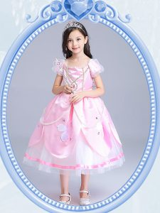Perfect Ball Gowns High School Pageant Dress Baby Pink Square Taffeta and Tulle Short Sleeves Tea Length Zipper