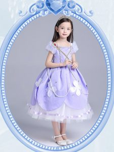 Fancy Square Lavender Zipper Glitz Pageant Dress Beading and Appliques Short Sleeves Tea Length