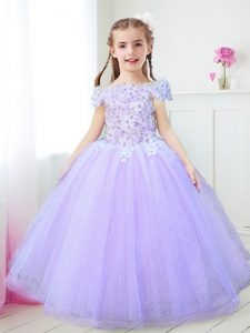 Off the Shoulder Beading and Appliques Little Girl Pageant Gowns Lavender Zipper Cap Sleeves Floor Length