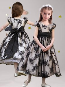 Scoop Lace Black Zipper Pageant Dress for Teens Sashes ribbons Short Sleeves Tea Length