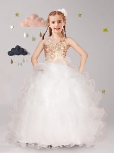 Halter Top White Organza Lace Up Kids Pageant Dress Sleeveless Floor Length Beading and Ruffles and Hand Made Flower