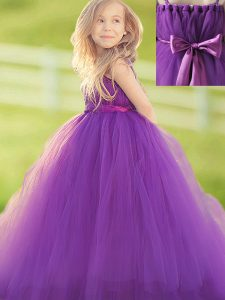 Straps Sleeveless Floor Length Bowknot and Hand Made Flower Zipper Pageant Dress for Teens with Eggplant Purple
