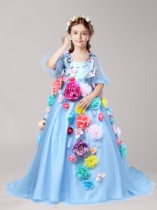 Baby Blue A-line Tulle V-neck Half Sleeves Hand Made Flower With Train Zipper Little Girl Pageant Gowns Brush Train