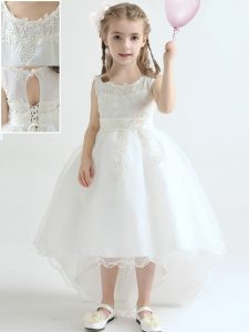 Hot Selling Scoop White Sleeveless High Low Appliques Lace Up Little Girl Pageant Dress
