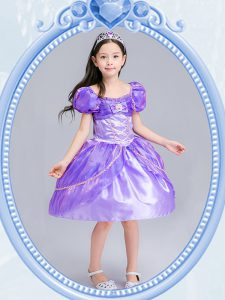 Organza Square Short Sleeves Side Zipper Beading and Bowknot Winning Pageant Gowns in Lavender