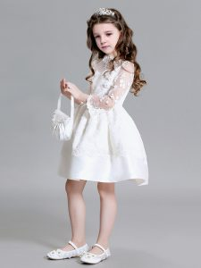 White Zipper High-neck Lace Kids Pageant Dress Lace Long Sleeves