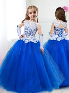 High Class Scoop Sleeveless Lace Up Floor Length Beading and Lace and Belt Little Girls Pageant Dress