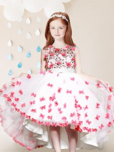 White And Red A-line Scoop Sleeveless Tulle High Low Zipper Lace and Appliques Little Girls Pageant Dress