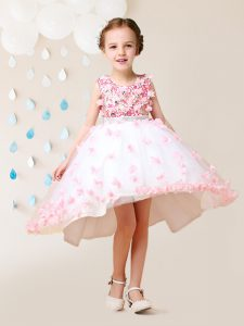 Great Scoop Sleeveless High Low Lace and Appliques Zipper Child Pageant Dress with Pink And White