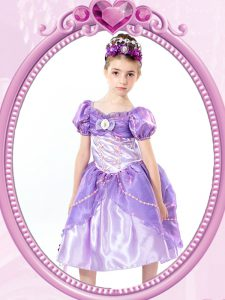Customized Tea Length Lavender Pageant Gowns V-neck Short Sleeves Clasp Handle