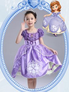Nice Scoop Lavender Taffeta Side Zipper High School Pageant Dress Short Sleeves Knee Length Beading and Pattern and Bowknot