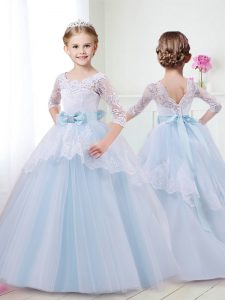 Great Tulle Scoop Half Sleeves Brush Train Lace Up Lace and Bowknot Custom Made Pageant Dress in Light Blue