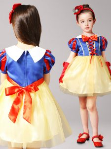 Blue and Yellow Zipper High-neck Bowknot Pageant Dresses Tulle Short Sleeves