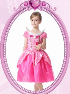 Hot Pink A-line Beading and Hand Made Flower Pageant Dress for Womens Clasp Handle Organza Short Sleeves Knee Length