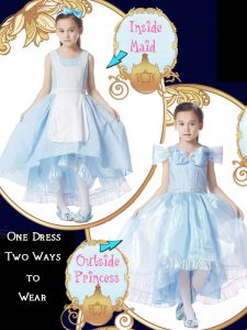 Light Blue Ball Gowns Organza Scoop Cap Sleeves Bowknot High Low Zipper Pageant Dress for Teens
