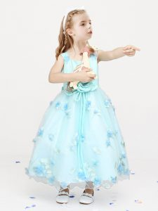 Light Blue Straps Zipper Appliques and Bowknot and Hand Made Flower Kids Pageant Dress Sleeveless
