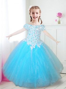 Off The Shoulder Cap Sleeves Pageant Dress Floor Length Beading and Appliques Aqua Blue Tulle