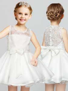 Classical Scoop Sleeveless Clasp Handle Mini Length Lace and Bowknot Glitz Pageant Dress