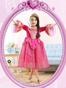 Superior Hot Pink Sequined Zipper Scoop 3 4 Length Sleeve Tea Length Pageant Dress for Girls Sequins