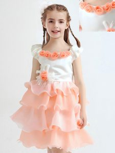 Scoop Ruffled Peach Cap Sleeves Organza Zipper Pageant Gowns For Girls for Party and Quinceanera and Wedding Party