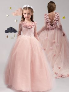 Pink Tulle Backless Scoop Long Sleeves With Train Child Pageant Dress Brush Train Lace and Appliques and Ruffles