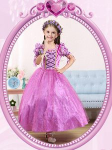 Scoop Short Sleeves Ankle Length Beading Side Zipper Pageant Dresses with Lilac