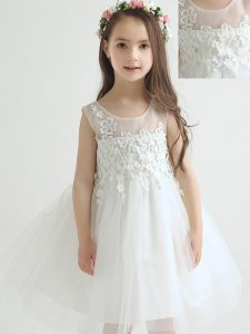 Scoop Tulle Sleeveless Knee Length Little Girls Pageant Dress and Appliques and Bowknot
