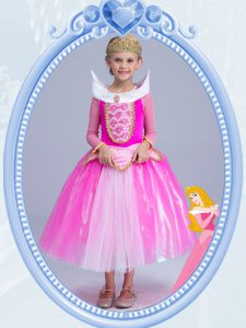 Customized Hot Pink Scoop Side Zipper Beading High School Pageant Dress Long Sleeves