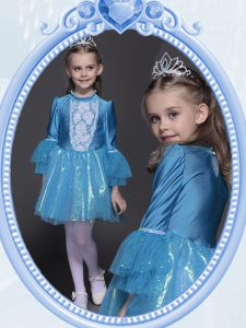 Scoop Sequins Mini Length Empire Long Sleeves Teal Pageant Dress Toddler Side Zipper
