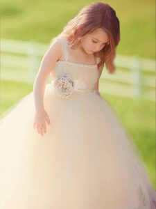 Simple Straps Champagne Sleeveless Tulle Zipper Pageant Dress Toddler for Party and Quinceanera and Wedding Party
