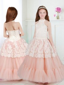 Halter Top Sleeveless Zipper Pageant Dress Toddler White and Peach Tulle