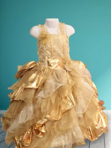 Gold Organza Lace Up Straps Sleeveless Floor Length Little Girls Pageant Gowns Ruffles and Sequins and Hand Made Flower