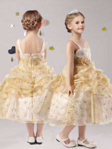 Gold Straps Zipper Pick Ups and Hand Made Flower Pageant Dress for Teens Sleeveless
