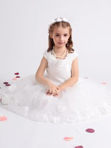 Great White Scoop Zipper Lace and Appliques and Hand Made Flower Pageant Dress Cap Sleeves
