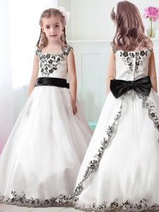 High End Straps White A-line Appliques and Belt Little Girls Pageant Gowns Zipper Tulle Sleeveless Floor Length