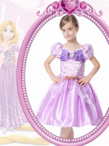 Hot Sale Organza V-neck Short Sleeves Clasp Handle Beading and Bowknot Pageant Dress Toddler in Lilac
